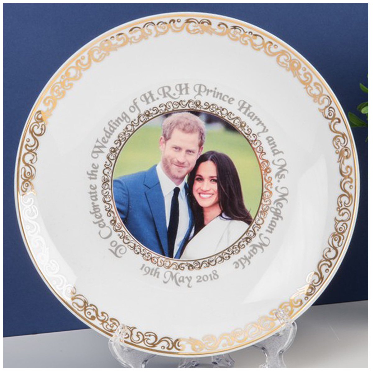 Assiette décorative porcelaine \'Royal Wedding\' - diamètre 20 cm - [Q2049]