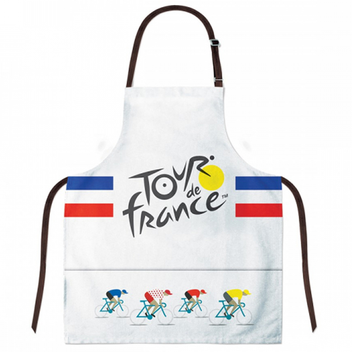 Tablier créateur coton \'Tour de France\' bleu blanc rouge - 78x68 cm - [R1964]