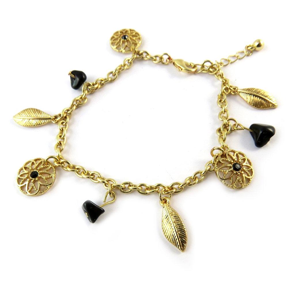 Bracelet \'Navajos\' noir doré - [N8096]