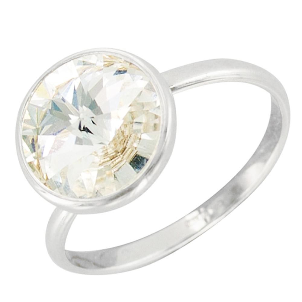 Bague Argent \'Sissi\' blanc cristal (Crystal) - 11 mm - [Q3324]