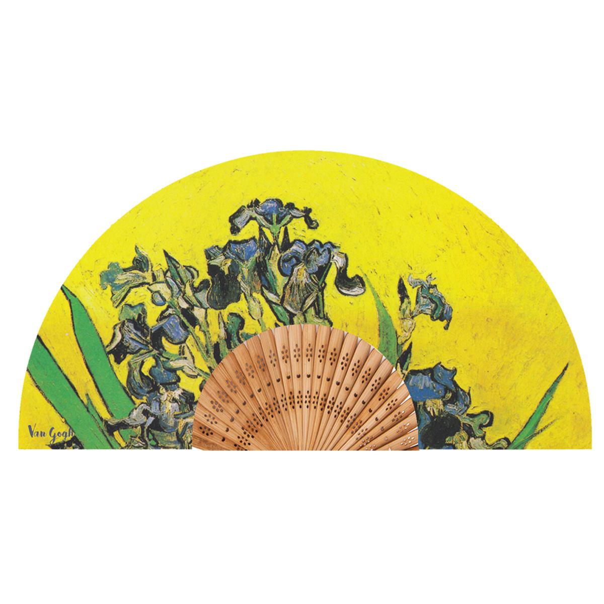 Eventail créateur \'Vincent Van Gogh\' (Les Iris sur fond jaune) - ouvert 37x21 cm - [Q9277]