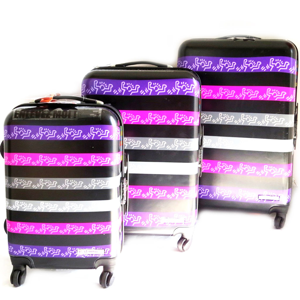 Set de 3 valises trolley ABS \'Keith Haring\' noir violet (51/61/71 cm) - [M6429]