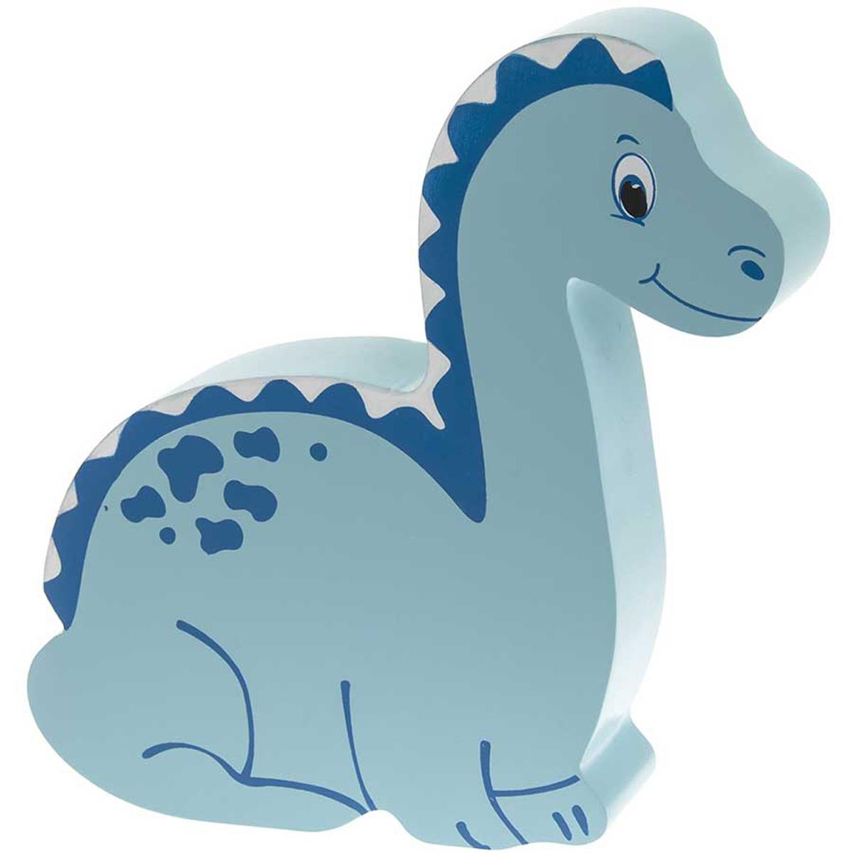 Tirelire bois \'Dinosaure\' bleu - 20x19x4 cm - [Q0302]