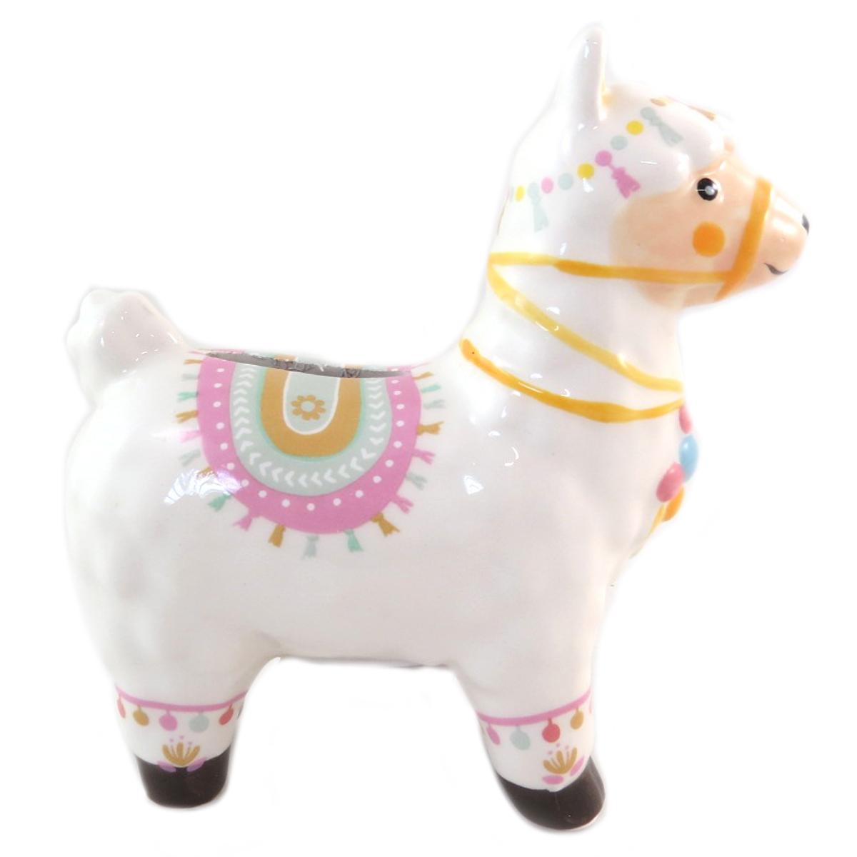 Tirelire céramique \'Lama Mania\' blanc rose - 12x11 cm - [Q0309]