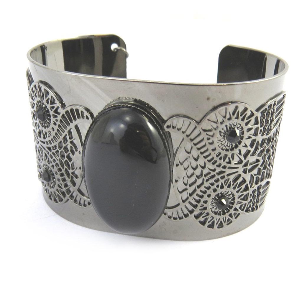 Bracelet \'Carmen\' gris noir (chouette)  - [M6462]