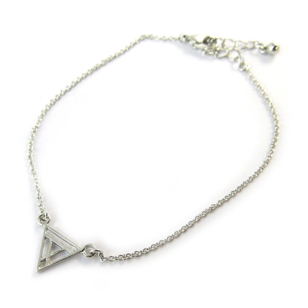 Bracelet \'Triangle\' argenté - [N8129]