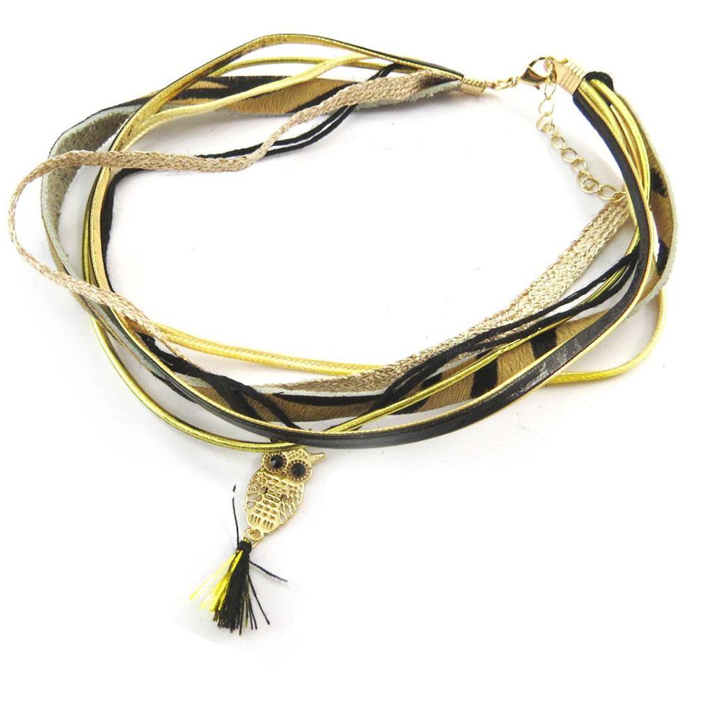 Bracelet ethnique \'Kilimanjaro\' marron doré (chouette) - [N3735]