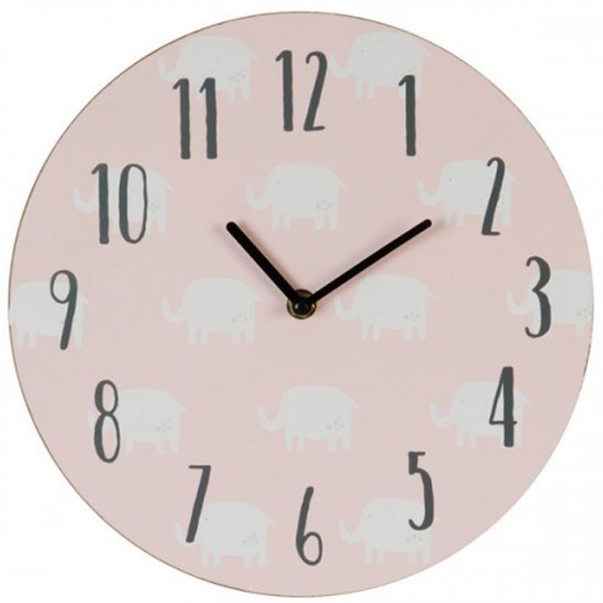 Horloge enfant bois \'Elephant\' rose - 30 cm - [Q2090]