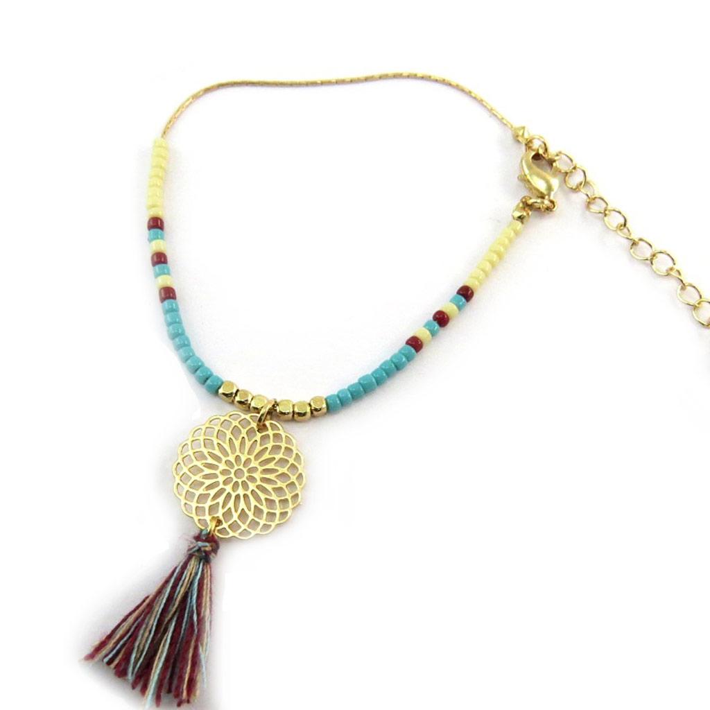 Bracelet \'Navajos\' turquoise marron doré - [N3736]