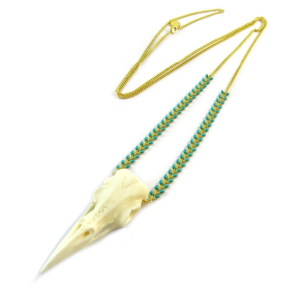 Collier sautoir artisanal \'Azuni\' beige turquoise doré (fait main) - [P1724]