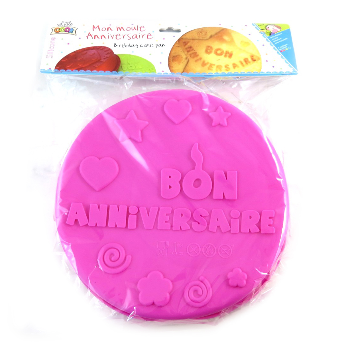 Moule silicone \'Bon Anniversaire\' rose - 26 cm - [Q0355]