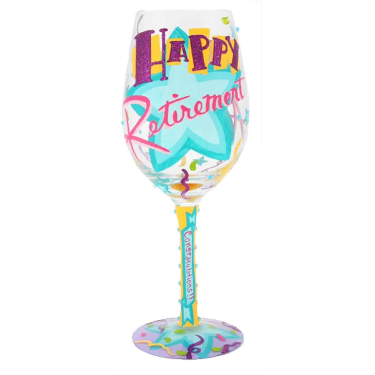 Verre à vin artisanal \'Happy Retirement\' turquoise violet - 215 cm - [Q3387]