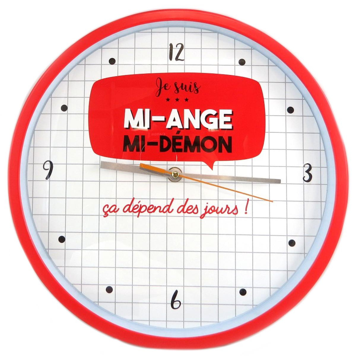 Horloge Murale \'Messages\' (Je suis mi-ange mi-démon ça dépend des jours) - 30 cm - [Q0367]