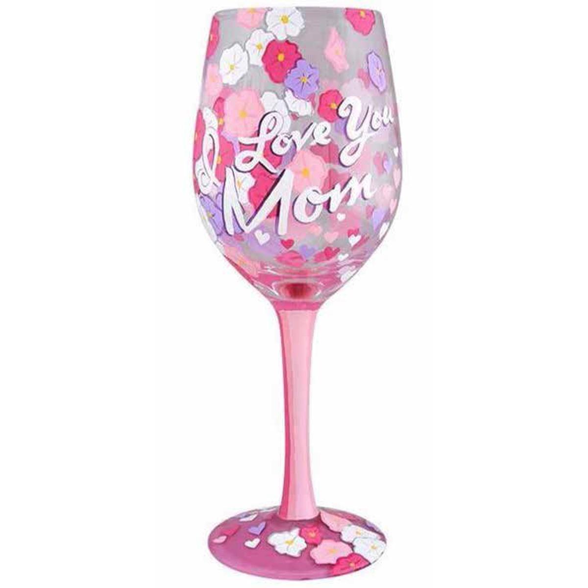 Verre à vin artisanal \'I love you Mum\' rose violet - 215 cm - [Q3391]