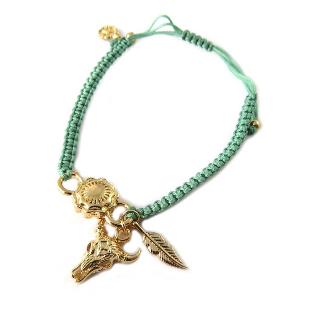 Bracelet artisanal \'Azuni\' vert doré (fait main) - [P1738]