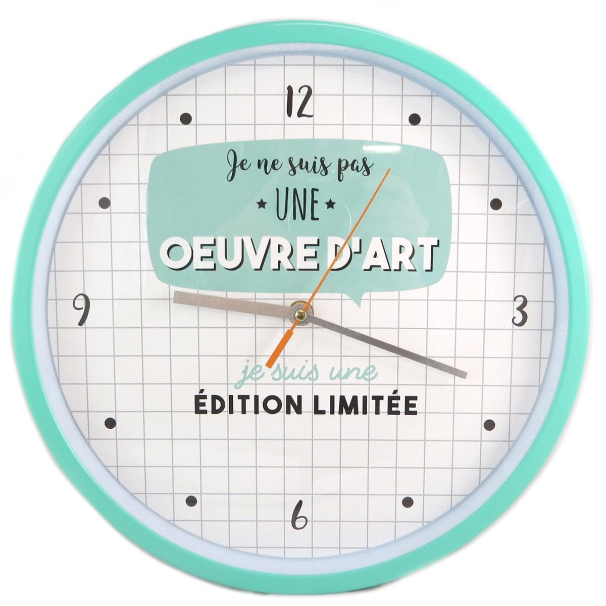 Horloge Murale \'Messages\' (Je ne suis pas une Oeuvre d\'art mais je suis une Edition Limitée) - 30 cm - [Q0368]