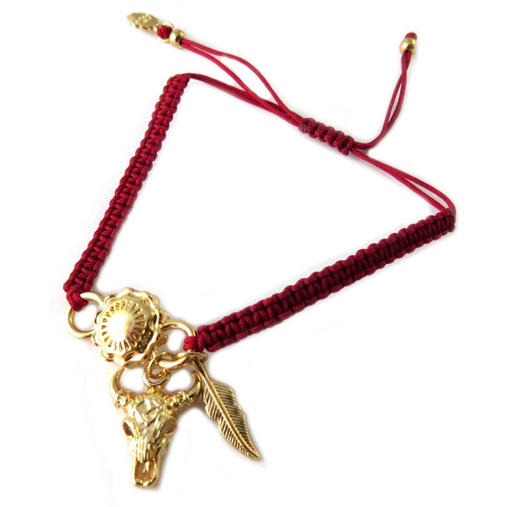 Bracelet artisanal \'Azuni\' rouge doré (fait main) - [P1739]