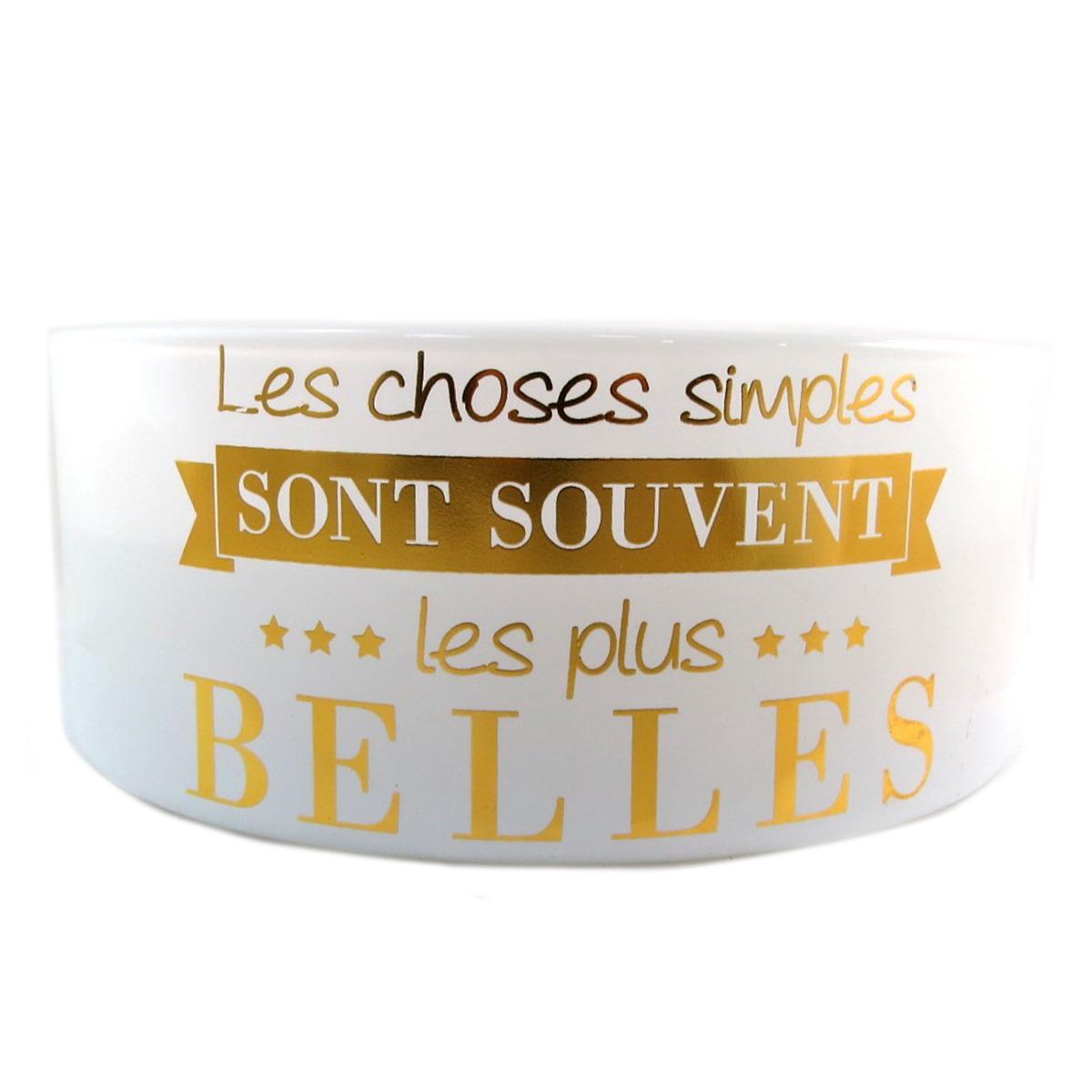 Bougie décorative \'Messages\' beige (Les Choses simples sont souvent les plus Belles) 5 mèches - 185x7 cm - [Q0379]