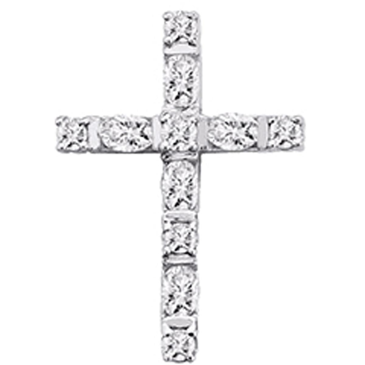 Pendentif argent \'Croix Pureté\' blanc doré - [N3761]