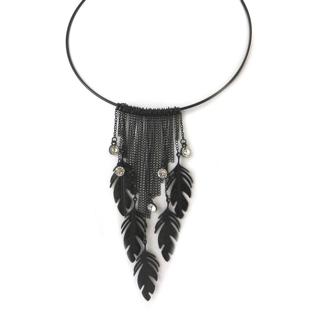Collier Créateur \'Navajos\' noir  - [N8154]