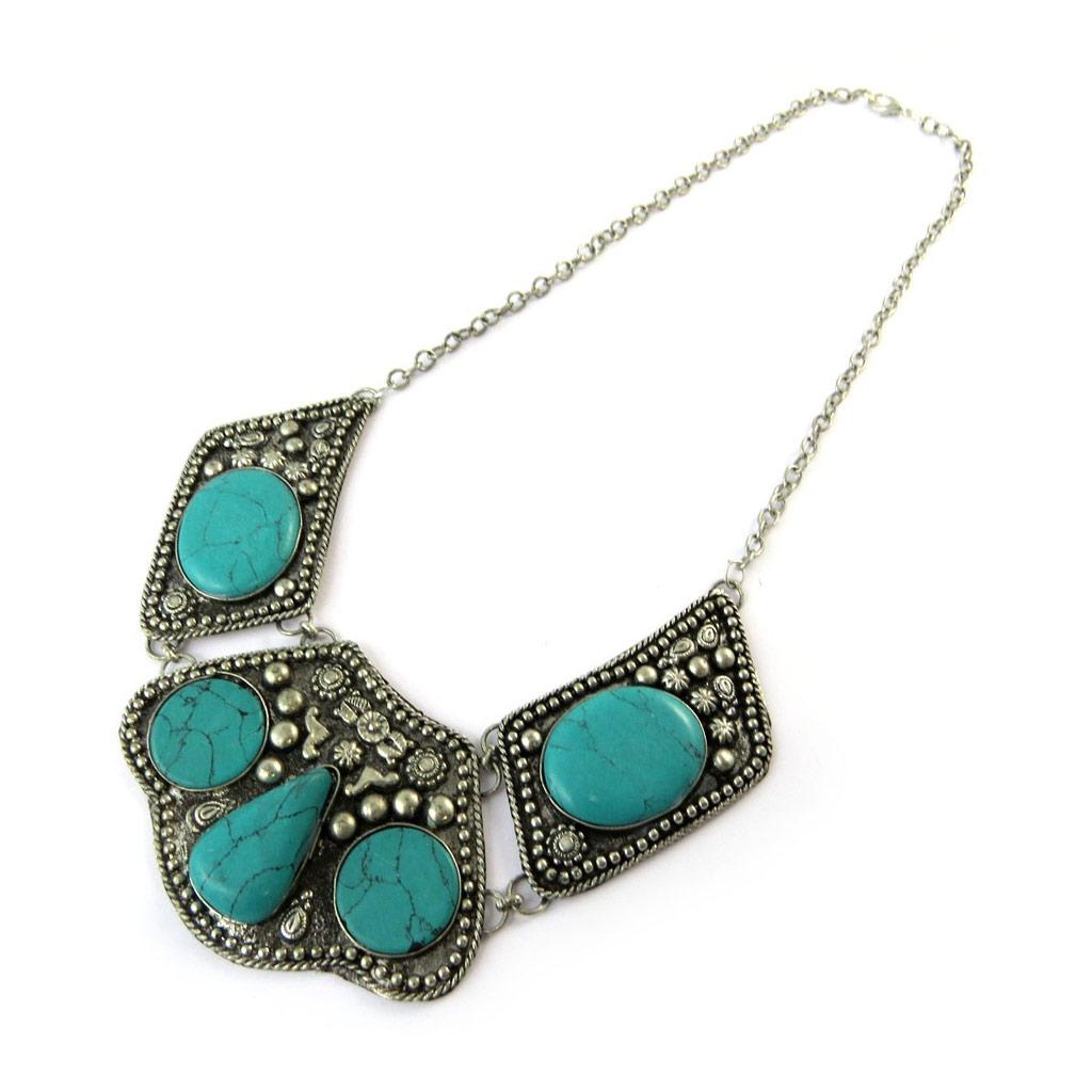 Collier Créateur \'Navajos\' turquoise argenté - [N8155]