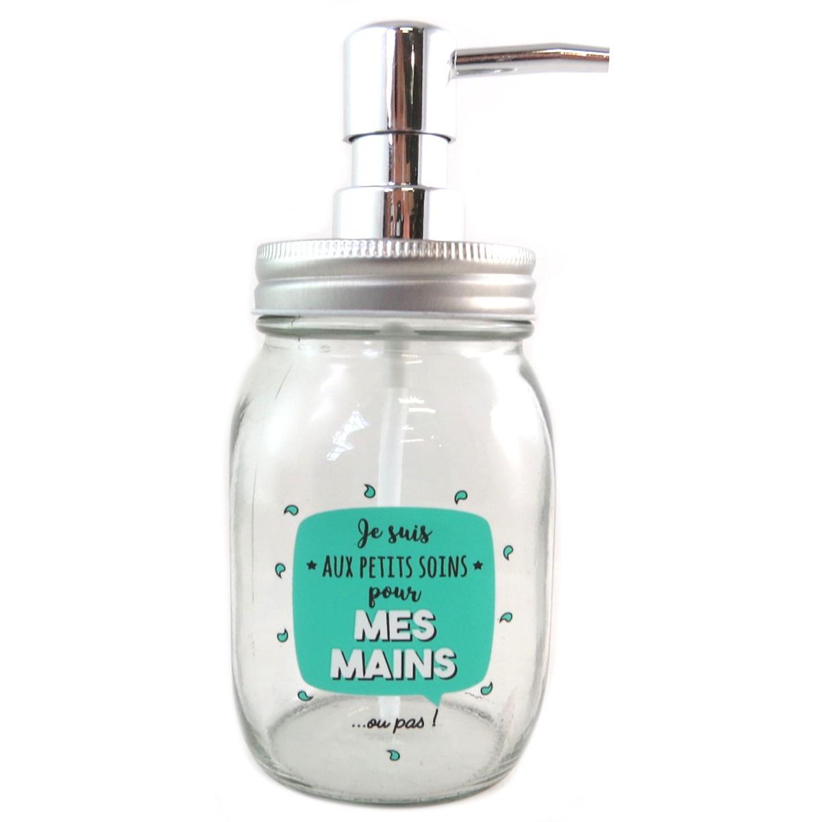 Distributeur de savon verre \'Messages\' vert (Je suis aux petits Soins pour mes Mains  ou pas !) - 18x8 cm - [Q0411]
