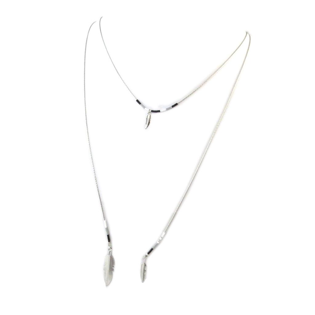 Collier sautoir \'Navajos\' gris noir argenté - [N8168]