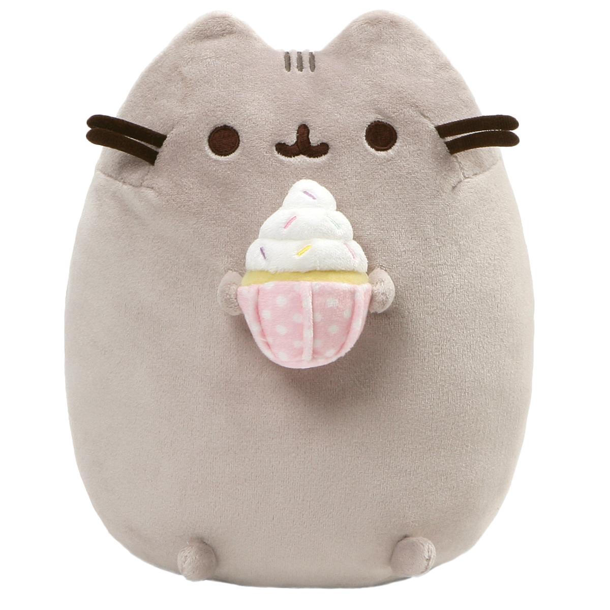 Peluche créateur \'Pusheen\' (cupcake chantilly) gris - 24 cm - [Q3420]