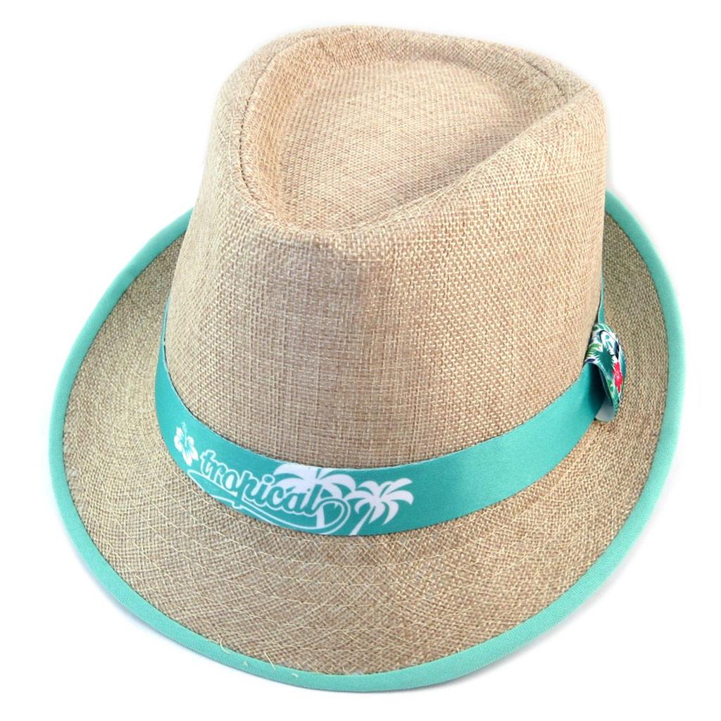Chapeau \'Tropical\' beige turquoise - [P1802]