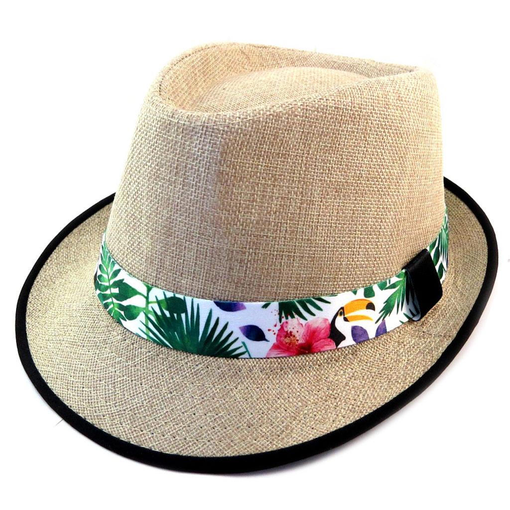 Chapeau \'Tropical\' beige noir multicolore - [P1803]