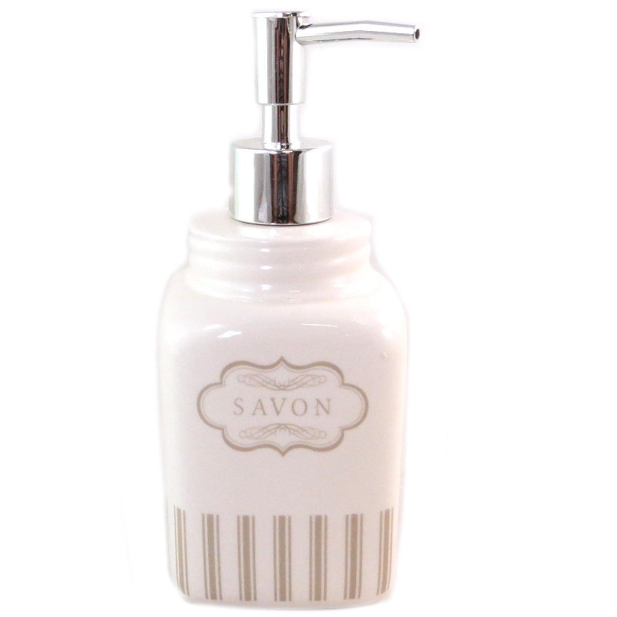Distributeur de savon céramique \'Savon\' ivoire (rétro) - 185x65 cm - [Q0431]