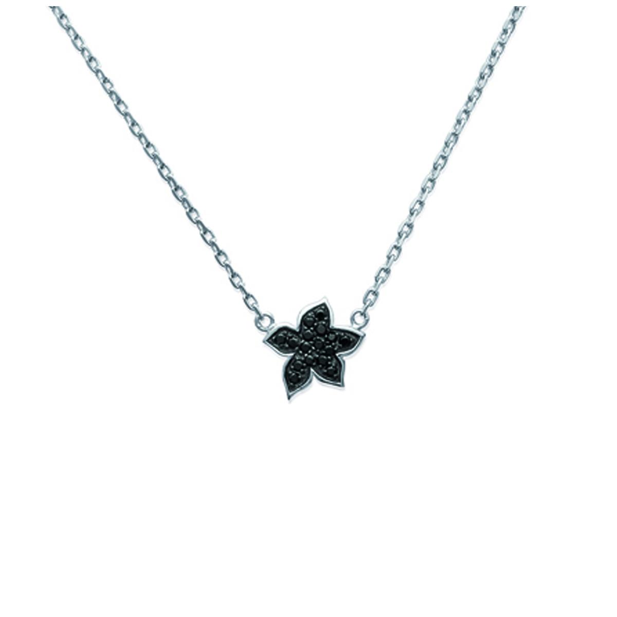 Collier Argent \'Romy\' fleur noir blanc (rhodié) - 11x12 mm - [I8092]