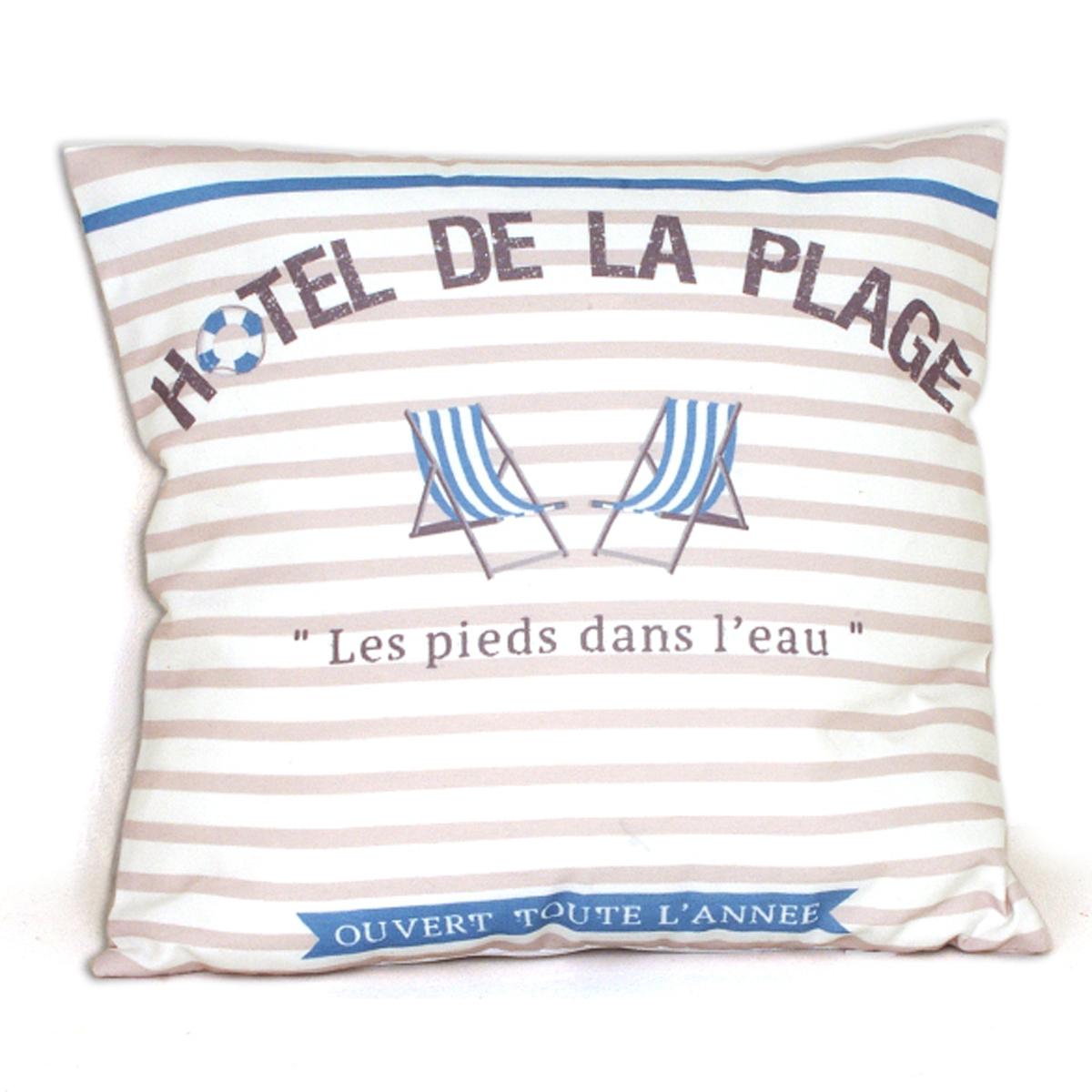 Coussin coton \'Cabourg - Hotel de la Plage\' bleu beige blanc - 40x40 cm - [A0273]