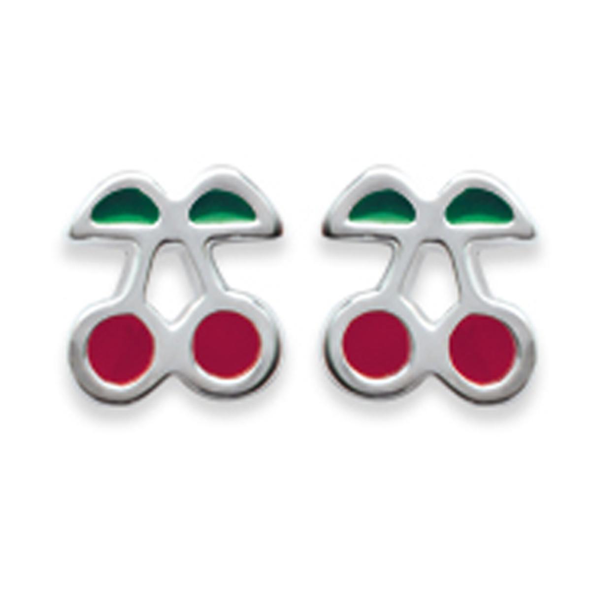 Boucles Argent \'Cerises\' Rouge Vert argenté - 6x6 mm - [E1092]