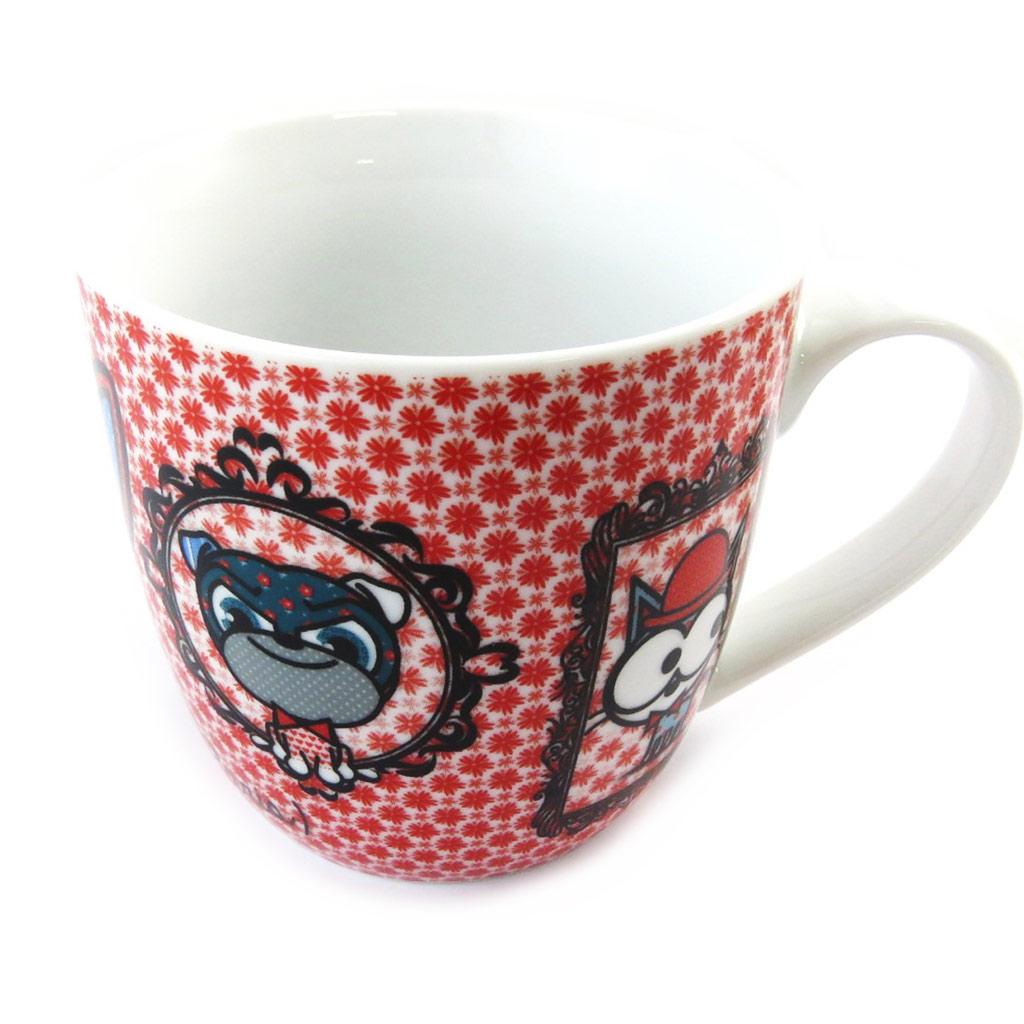 Mug porcelaine \'Chien et Chat Lolita\' rouge blanc - [N5665]