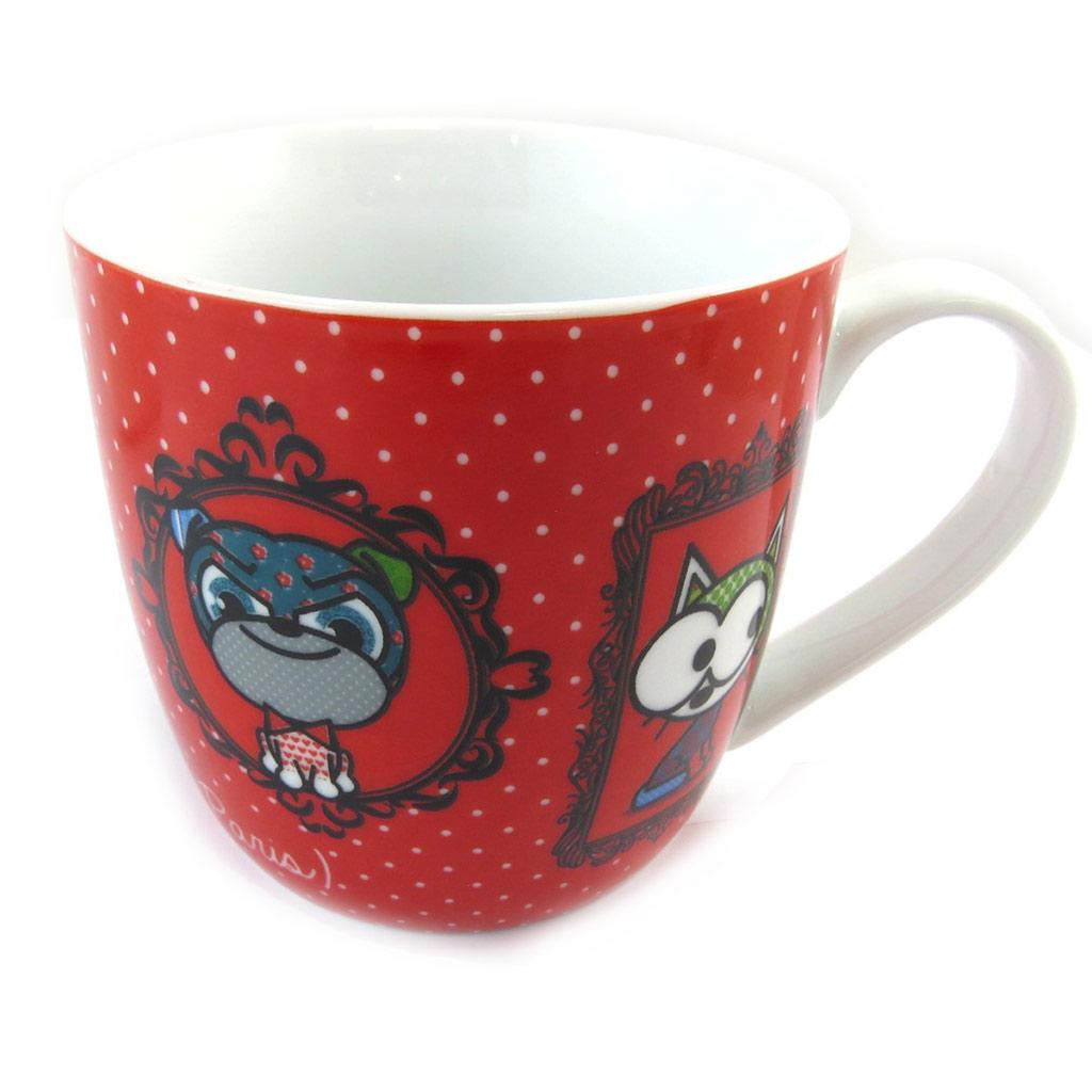 Mug porcelaine \'Chien et Chat Lolita\' rouge - [N5666]