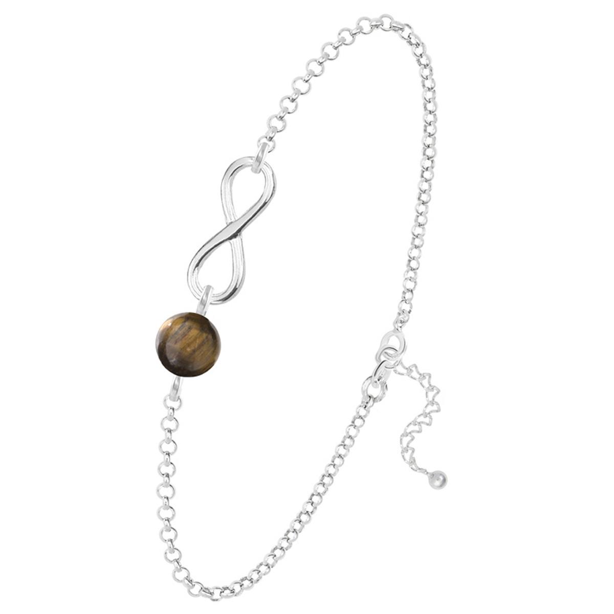 Bracelet argent artisanal \'Infini\' oeil de tigre argenté - 12x10 mm - [R0975]