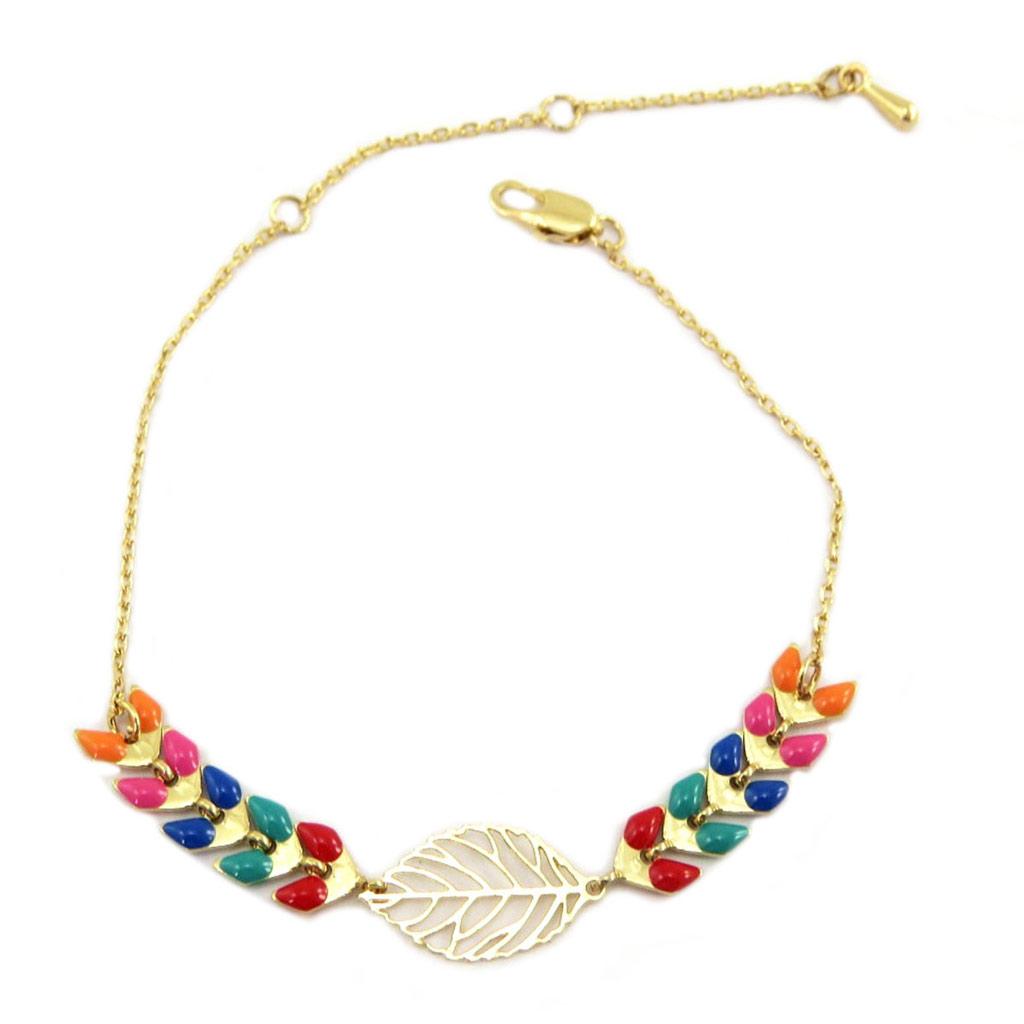 Bracelet créateur \'Navajos\' doré multicolore - [P6990]