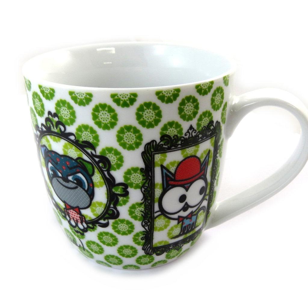 Mug porcelaine \'Chien et Chat Lolita\' vert - [N5667]