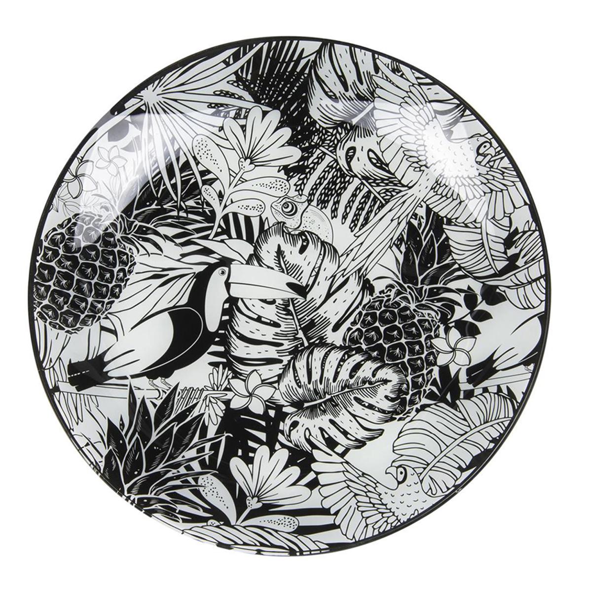 Plateau coupelle verre \'Tropical\' noir blanc (toucan - ananas) - 31 cm - [Q7995]