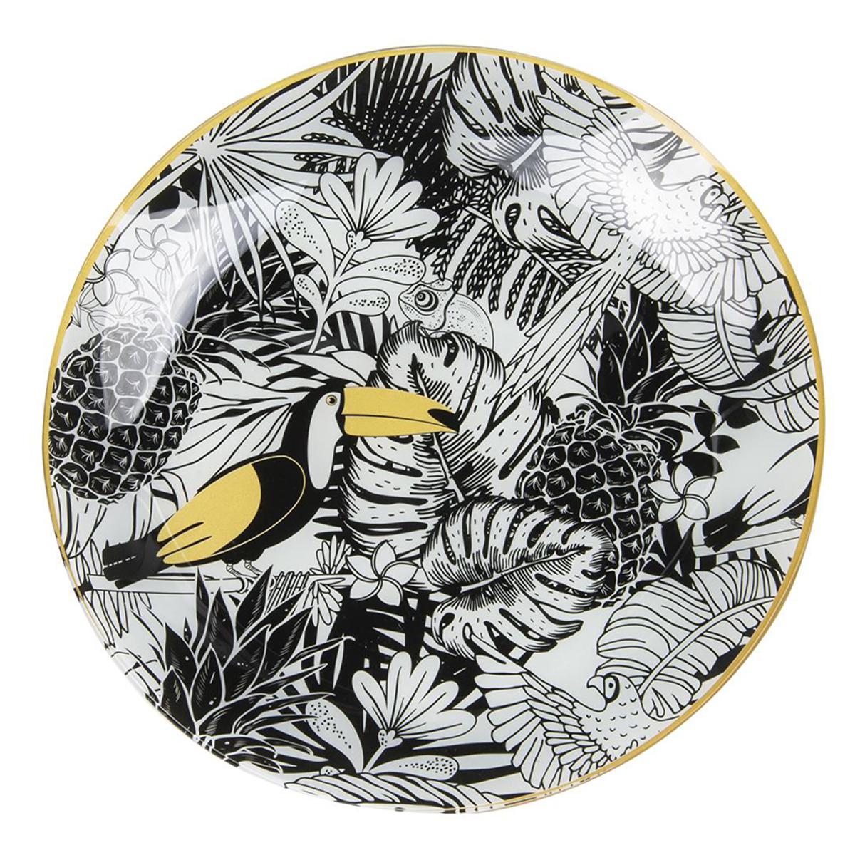 Plateau coupelle verre \'Tropical\' noir blanc doré (toucan - ananas) - 31 cm - [Q7997]