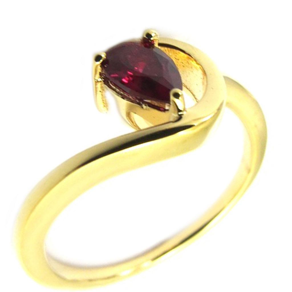 Bague plaqué or \'Câlin\' rouge - [L6097]