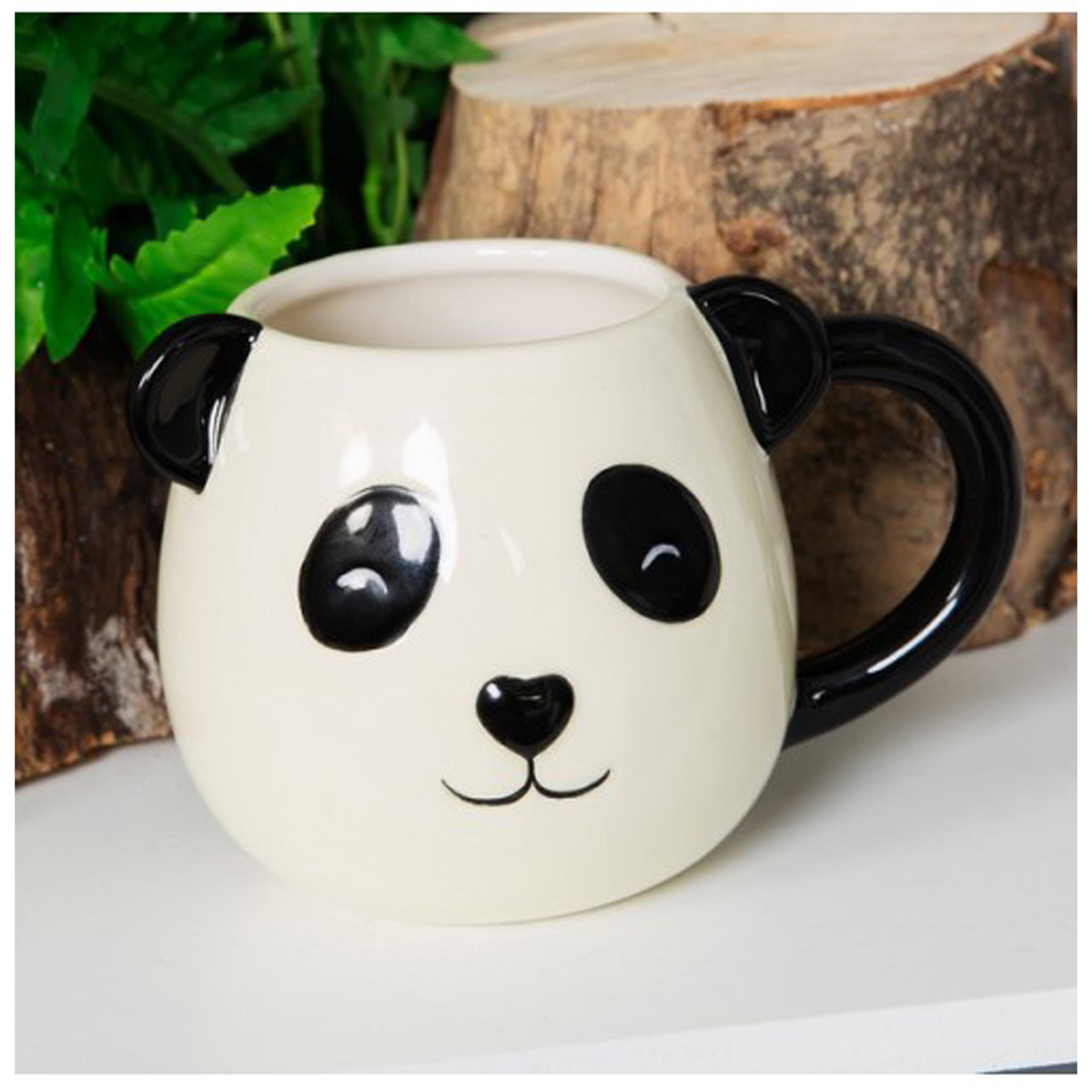 Mug céramique \'Panda\' blanc noir - 9x65 cm - [Q6461]