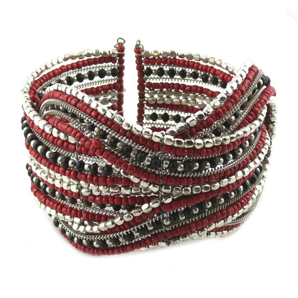 Bracelet créateur \'Katmandou\' rouge - [N8244]