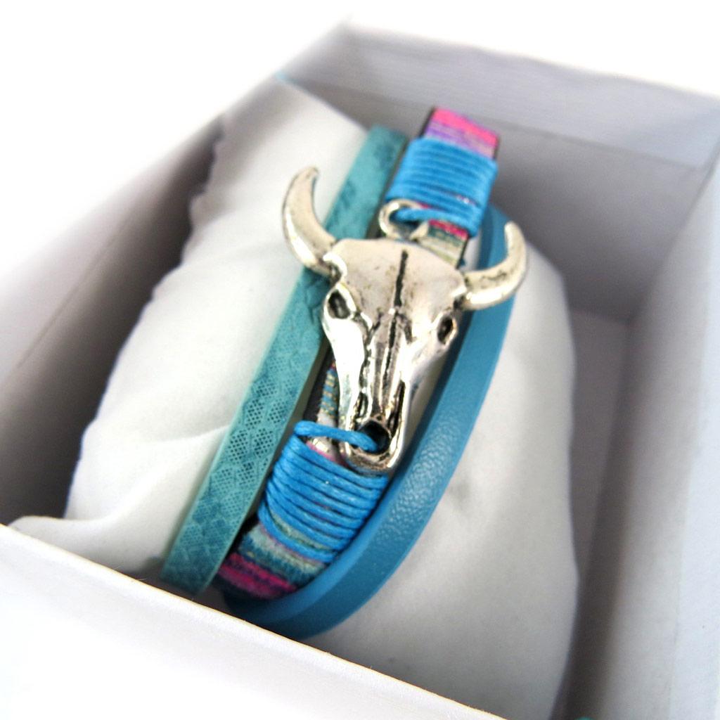 Bracelet créateur \'Navajos\' bleu turquoise vintage (crâne de bison) - 3 rangs - [P0272]