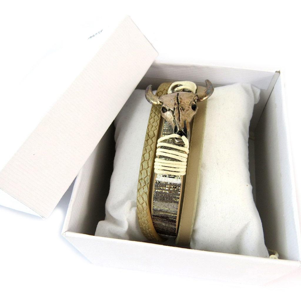 Bracelet créateur \'Navajos\' beige doré vintage (crâne de bison) - 3 rangs - [P0273]