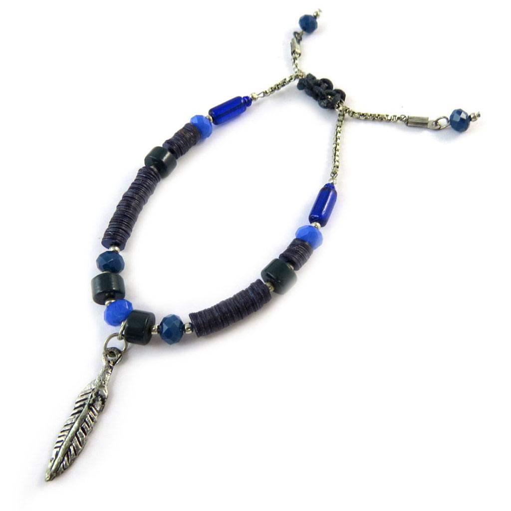 Bracelet \'Navajos\' bleu argenté vieilli - [N8247]