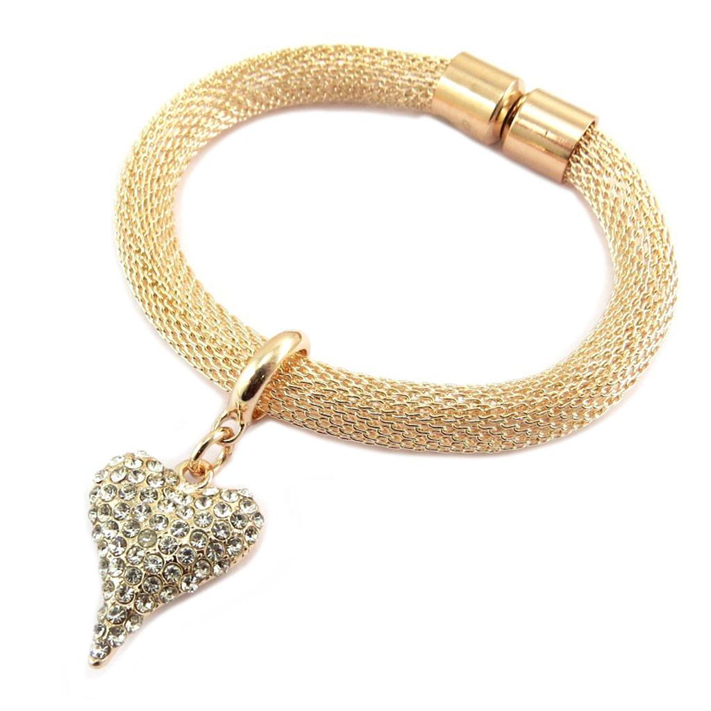 Bracelet créateur \'Love\' blanc doré rosé - 25x20 mm - [P8451]