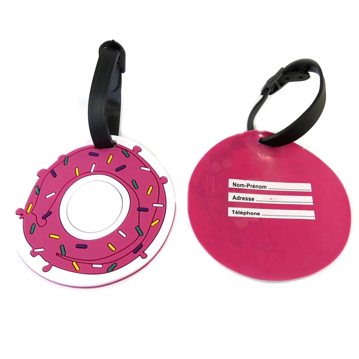 Paire de porte-étiquettes de bagage \'Donuts\' rose - 15x95 cm - [Q0524]