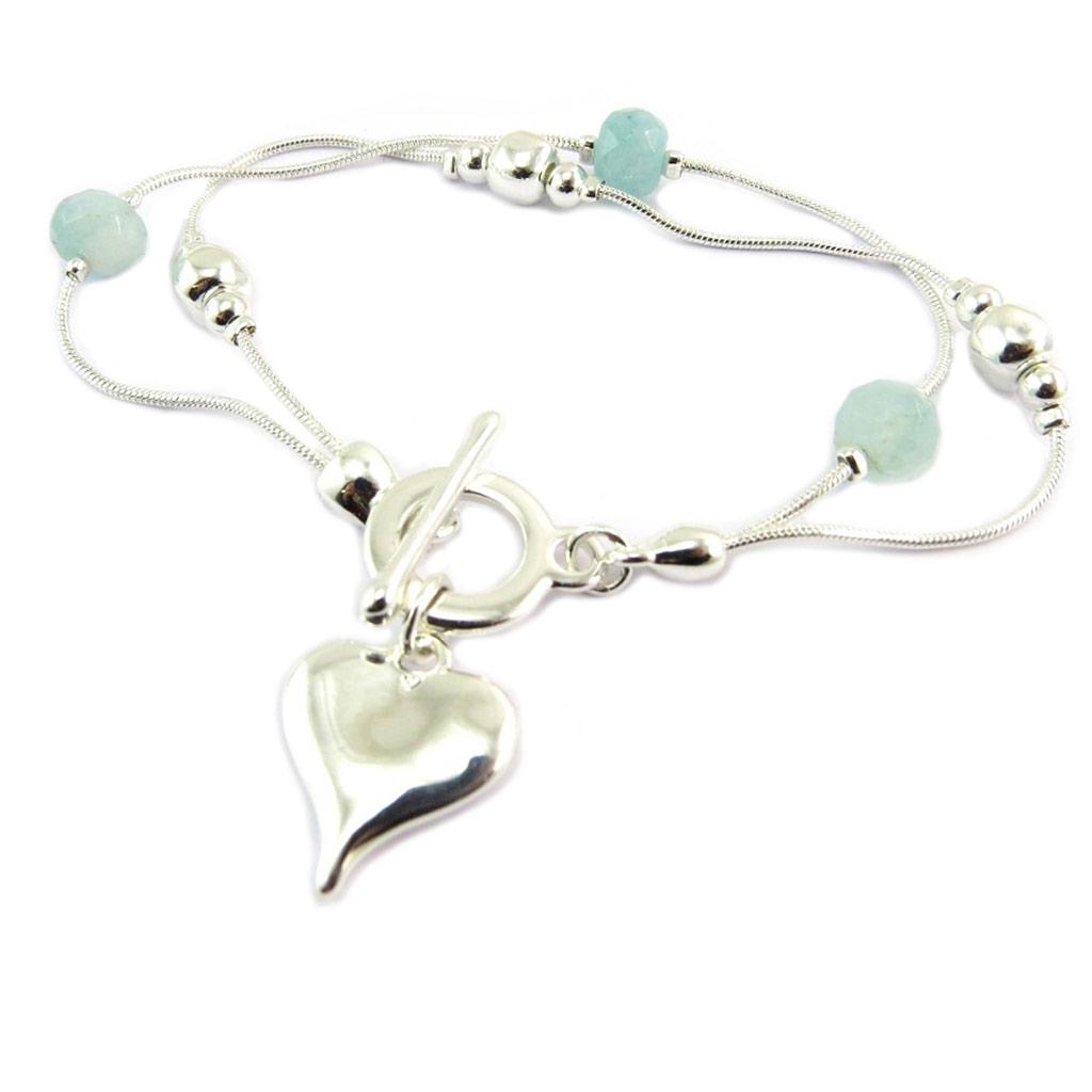 Bracelet créateur \'Love\' vert argenté - 15x15 mm - [P8453]